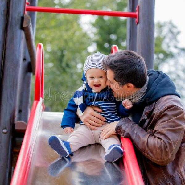 young-father-play-child-playground-autumn-season-time-127476499